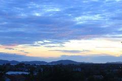 Por do sol azul Imagem de Stock