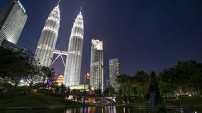 Por do sol azul da hora de Kuala Lumpur City Centre During Foto de Stock