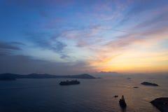 Por do sol azul e alaranjado Fotografia de Stock Royalty Free