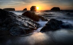 Por do sol Bandon Oregon Fotografia de Stock