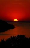 Por do sol bonito acima do mar Imagem de Stock Royalty Free