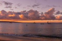 Por do sol bonito da ilha de Maui fotografia de stock royalty free