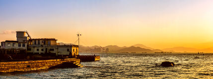 Por do sol bonito da ilhota de Gulangyu Foto de Stock