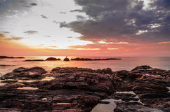 Por do sol bonito da praia Imagens de Stock