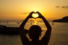 Por do sol bonito de Ibiza em Cala Conta, Ibiza, perto de San Antonio fotografia de stock royalty free