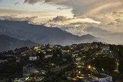 Por do sol bonito de montanhas de Qing Jin em Taiwan Fotos de Stock