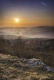 Por do sol bonito em Cetatuia Imagem de Stock