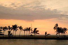 Por do sol bonito em Havaí Fotos de Stock Royalty Free