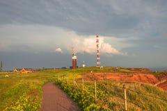 Por do sol bonito em Helgoland, ilhas alemãs do paraíso no norte Fotografia de Stock Royalty Free