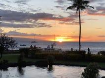 Por do sol bonito em Maui! foto de stock royalty free