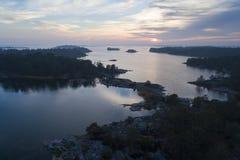 Por do sol bonito em Stendorren, Nykoping, Suécia, Escandinávia fotografia de stock royalty free