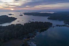 Por do sol bonito em Stendorren, Nykoping, Suécia, Escandinávia foto de stock