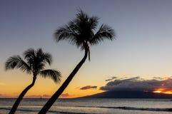 Por do sol bonito na ilha de Maui imagens de stock