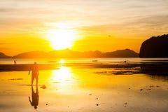 Por do sol bonito na praia Imagem de Stock