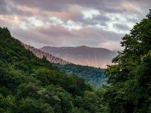 Por do sol bonito nas montanhas em um dia nebuloso do verão Floresta verde grossa na frente das montanhas imagens de stock royalty free