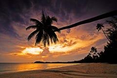 Por do sol bonito no console de Bintan foto de stock