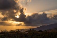 Por do sol bonito no La Palma, Ilhas Canárias, Espanha Imagens de Stock