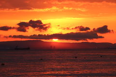 Por do sol bonito no mar Fotografia de Stock