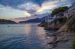 Por do sol bonito no olmo de Sant em GR 221, Mallorca, Espanha Fotos de Stock