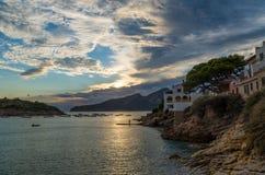 Por do sol bonito no olmo de Sant em GR 221, Mallorca, Espanha Foto de Stock Royalty Free
