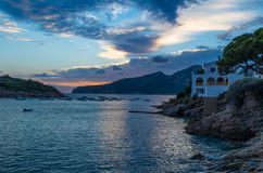 Por do sol bonito no olmo de Sant em GR 221, Mallorca, Espanha Fotografia de Stock Royalty Free