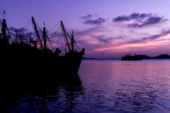 Por do sol bonito no songkhla Fotografia de Stock Royalty Free
