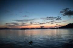 Por do sol bonito no songkhla Foto de Stock