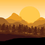 Por do sol bonito, paisagem das ilustrações do vetor Foto de Stock Royalty Free