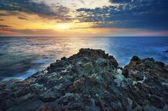 Por do sol bonito do seascape Composição da natureza Fotos de Stock