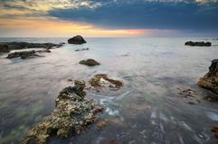 Por do sol bonito do seascape Composição da natureza Foto de Stock