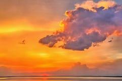 Por do sol bonito sobre a água em tons dourados foto de stock royalty free