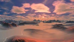 Por do sol bonito sobre as montanhas filme
