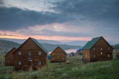 Por do sol bonito sobre o Lago Baikal fotografia de stock