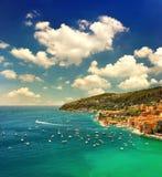 Por do sol bonito sobre o mar Mediterrâneo Imagens de Stock