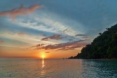 Por do sol brilhante Imagem de Stock Royalty Free