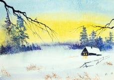 Por do sol brilhante do inverno ilustração stock