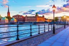Por do sol cénico em Éstocolmo, Sweden imagens de stock
