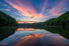Por do sol cênico, lago da montanha, Kentucky Fotos de Stock