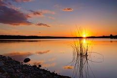 Por do sol calmo Fotografia de Stock Royalty Free