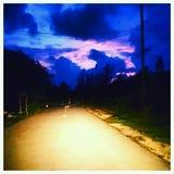 Por do sol chave de Florida da vareta de espingarda na rua Fotos de Stock