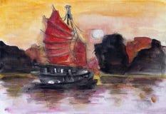 Por do sol chinês vermelho ilustração royalty free