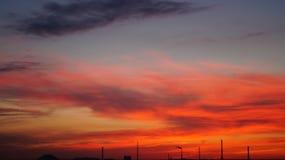 Por do sol colorido Imagens de Stock