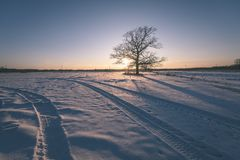 por do sol colorido do inverno com os raios claros que vêm com o grande Imagens de Stock