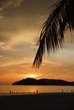 Por do sol colorido na praia fotografia de stock