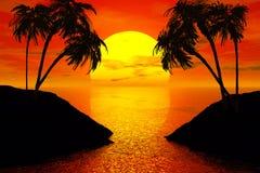 Por do sol com árvore de palmas Fotografia de Stock Royalty Free