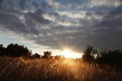 Por do sol com as nuvens sobre o campo Imagem de Stock