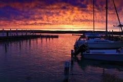 Por do sol com cor bonita do céu fotos de stock