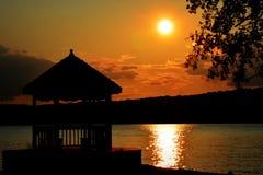 Por do sol com miradouro Fotos de Stock
