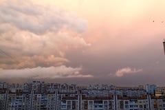 Por do sol com nuvens Foto de Stock Royalty Free