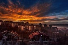 Por do sol da cidade Fotografia de Stock